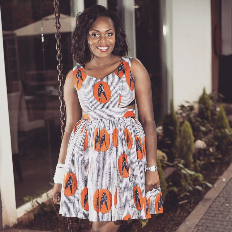Cut-out fit & flare cotton dress by Ugandan Contemporary Heritage Fashion Label Martha Jabo.
