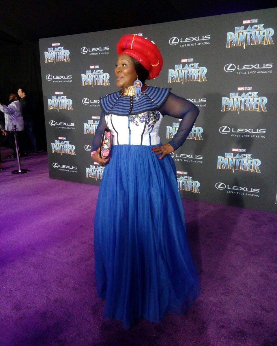 Connie Chiume Premiere of Black Panther